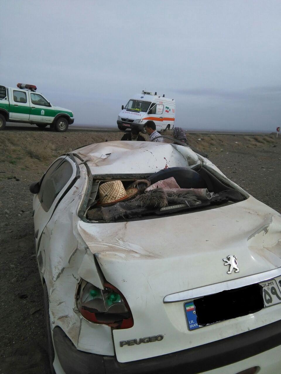 واژگونی 206 در جاده سرچشمه مرگ راننده آن را رقم زد